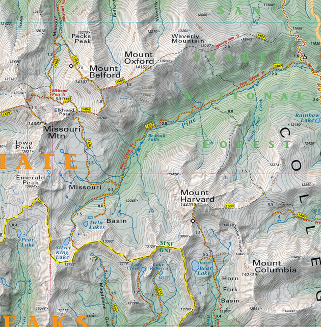 Mount Harvard trail map topographic