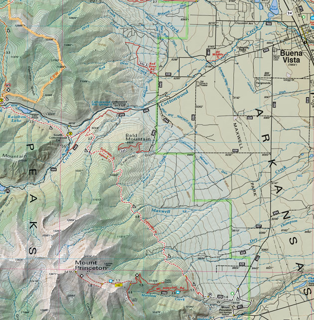 Mount Princeton 14ers topo map