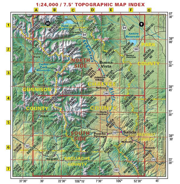 Salida Buena Vista Monarch Crest Trail topo map