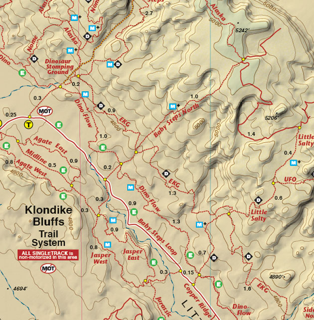Klondyke Bluffs single track map