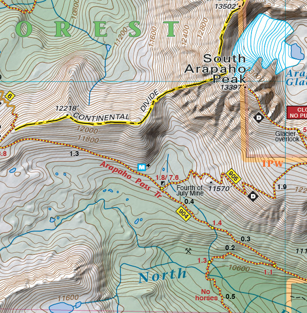 Arapahoe Pass trail map