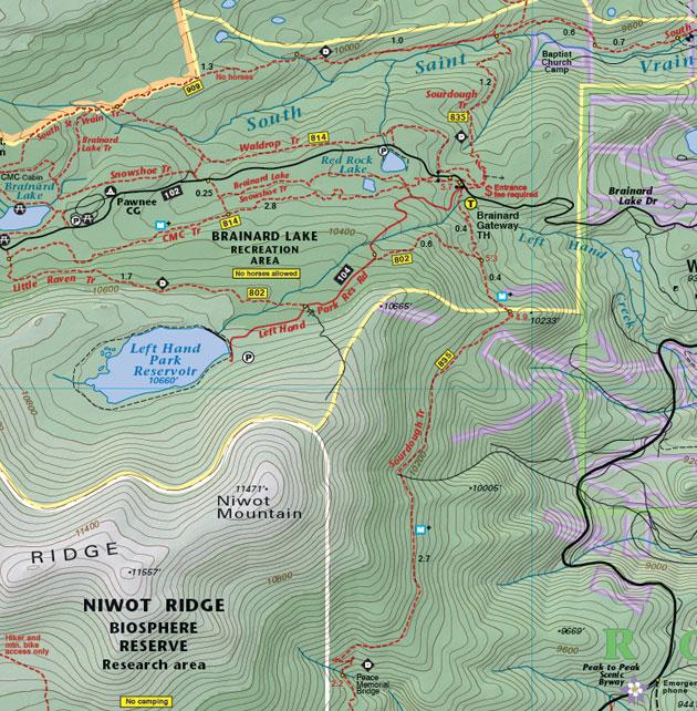 Brainard Lake recreation map