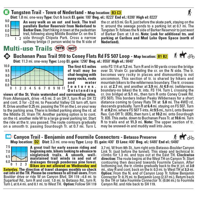 Boulder Nederland Trail Descriptions