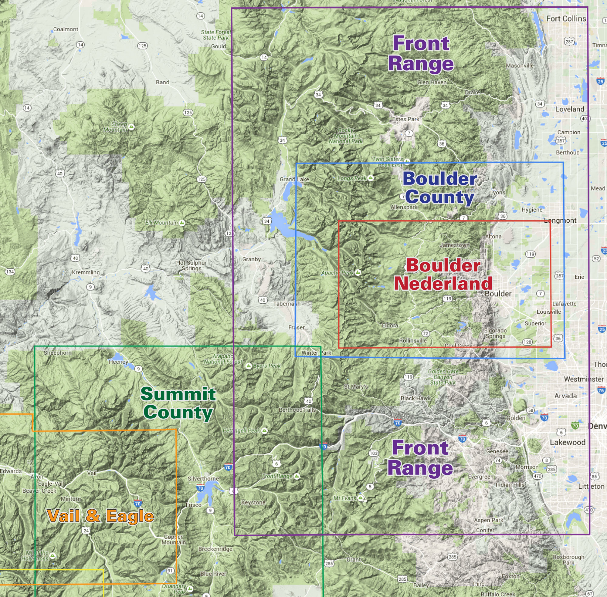 Topographic Map Colorado Springs.Front Range Trails Colorado Recreation Topo Map Latitude 40 Maps