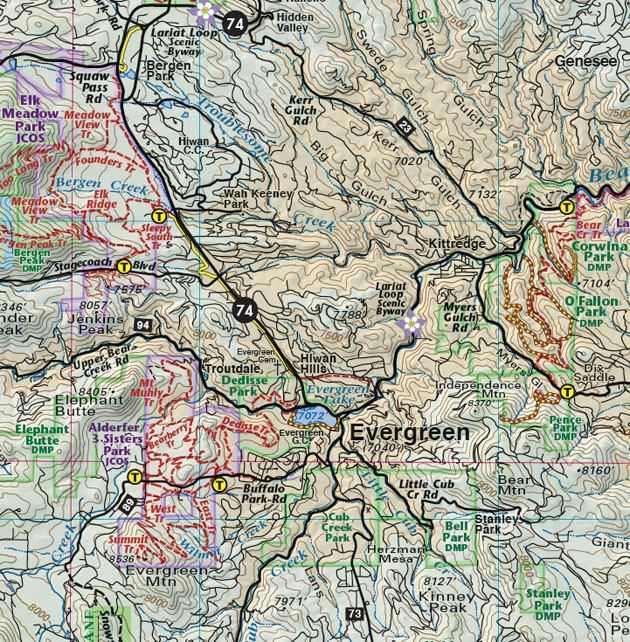 Evergreen Colorado jeep & trail map