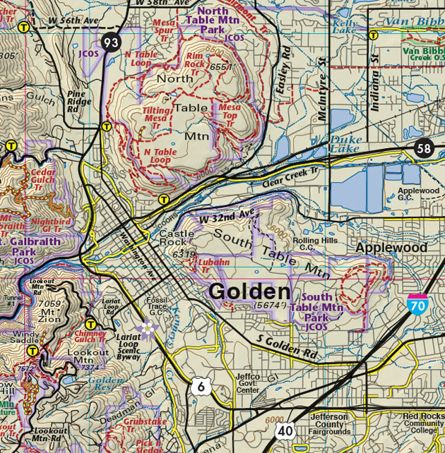 Golden Colorado trail map