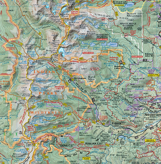 Indian Peaks topo trail map