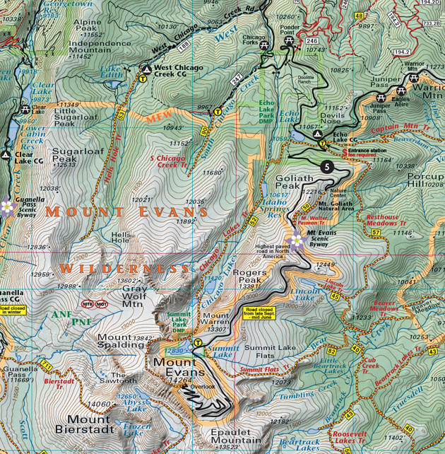 Mount Evans topographic trail map