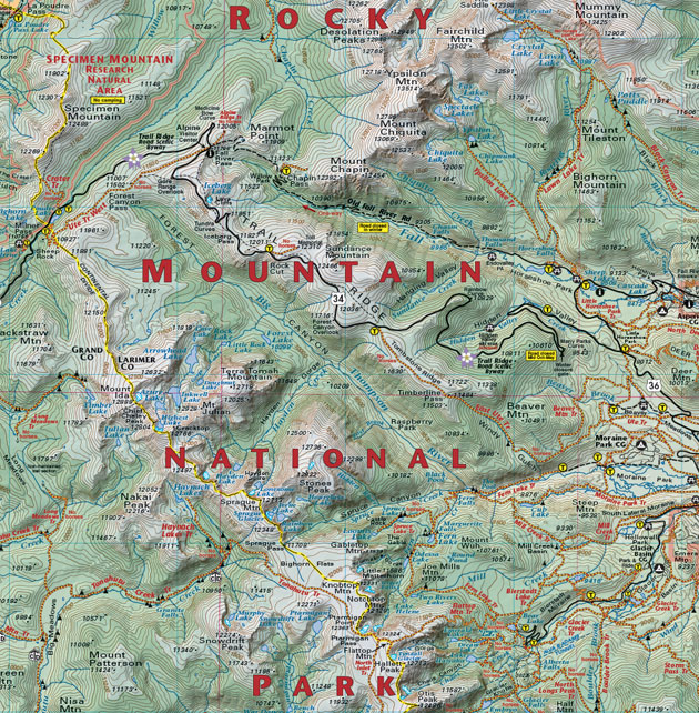 Rocky Mountain National Park topographic map