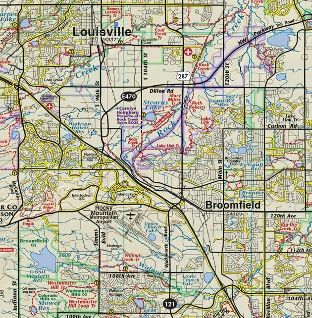 Louisville Broomfield Colorado map