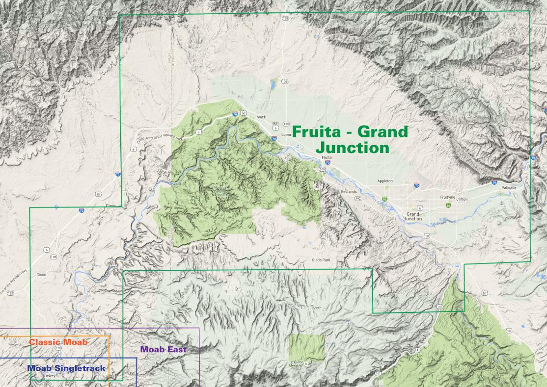 Map Of Grand Junction Colorado Fruita   Grand Junction Trails | Recreation Topo Map | Latitude 40