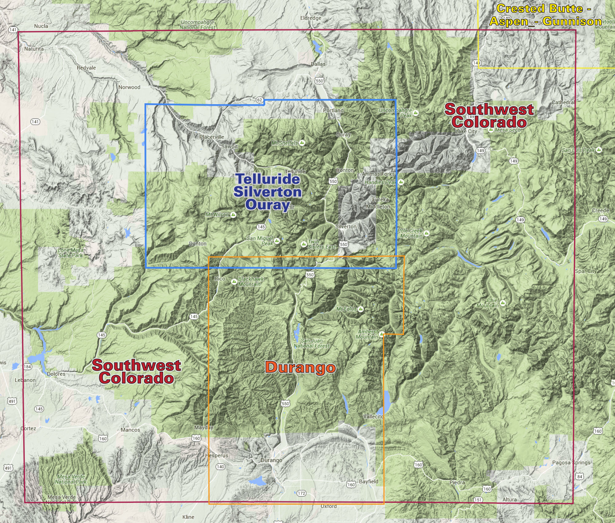 Southwest Colorado Trails | Recreation Topo Map | Laude 40° maps on