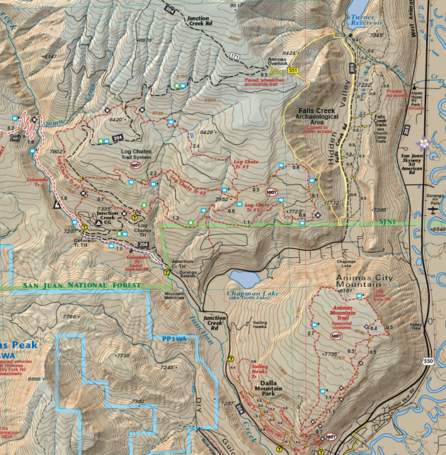 durango animas mountain map