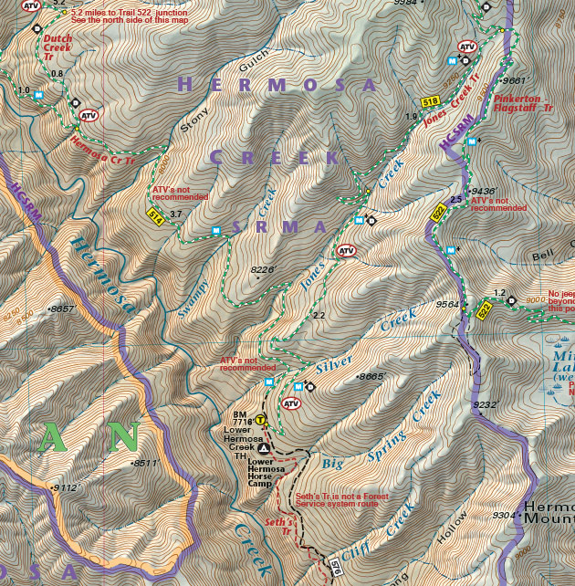 hermosa creek map