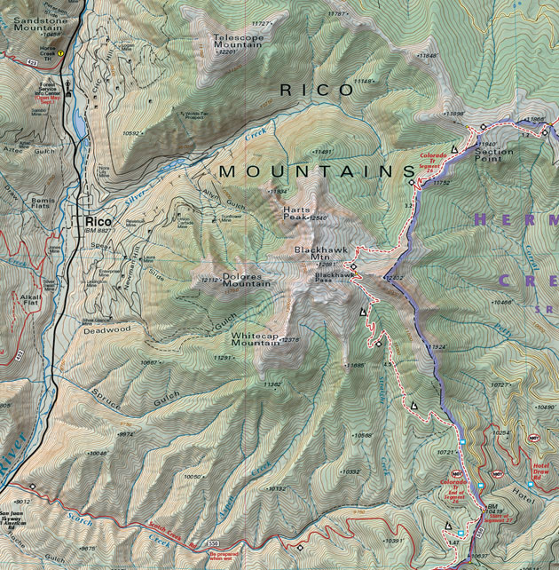 rico colorado mountains map