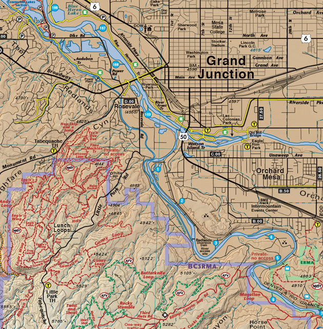 Fruita Grand Junction Trails Recreation Topo Map