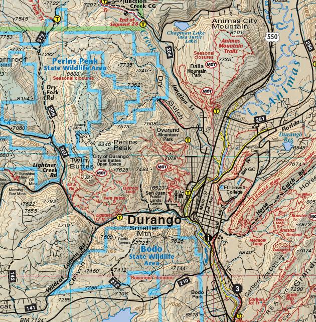 recreation map of durango