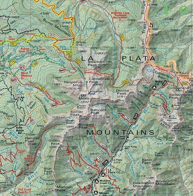 La Plata Mountains map