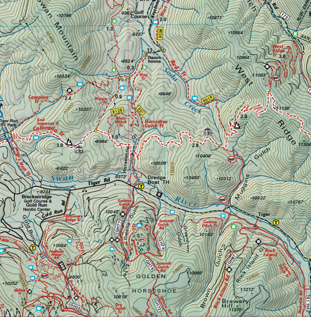Golden Horseshoe mountain biking trail map
