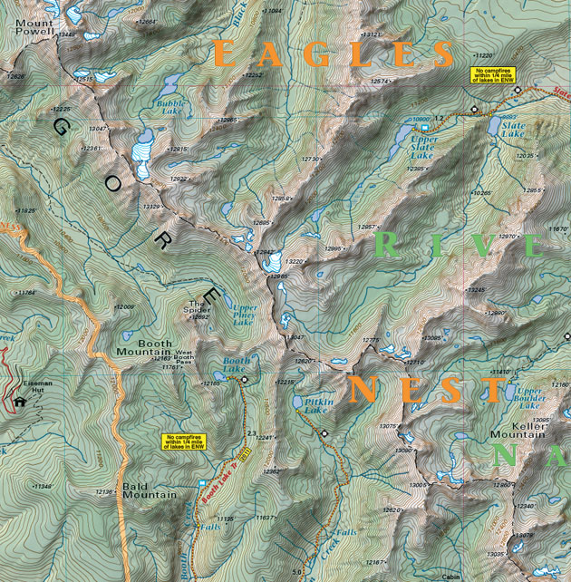 Gore Range Colorado trail map