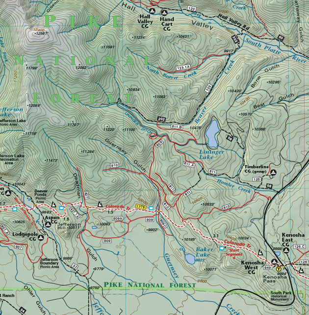 Kenosha Pass summit county map