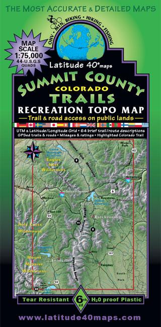 Summit County Trails Colorado Recreation Topo Map