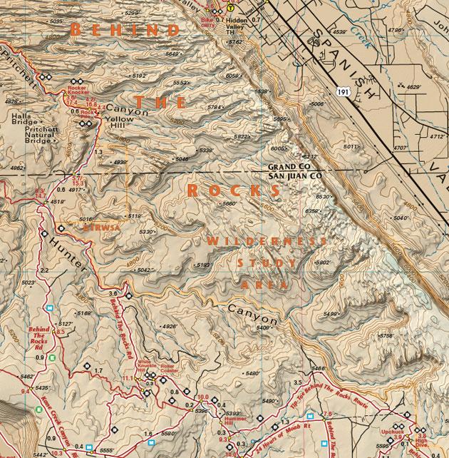 Behind the Rocks trail map utah moab