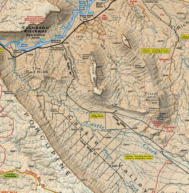 Castle Valley Utah recreation map