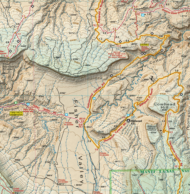 Fisher Valley Utah recreation map