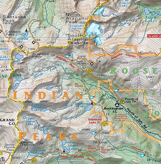 south arapaho peak map colorado
