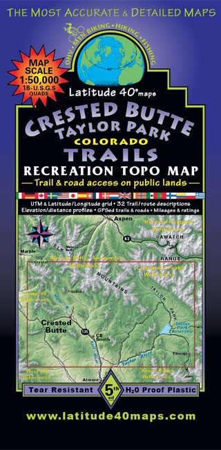 Crested Butte - Taylor Park Trails | Recreation Topo Map | Latitude 40°