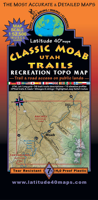 Classic Moab Trails | Utah Recreation Topo Map | Latitude 40° maps