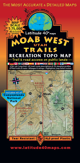 523ffa5a6f8d Moab West Trails   Utah Recreation Topo Map   Latitude 40° maps