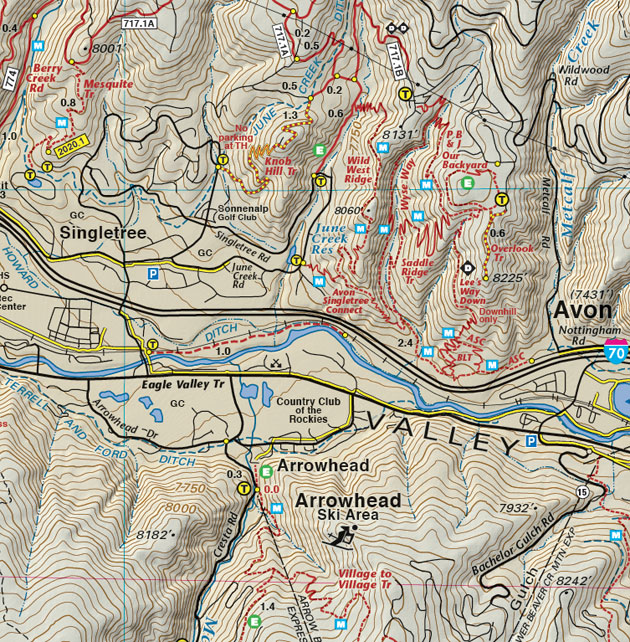 Avon Colorado topographic trail map