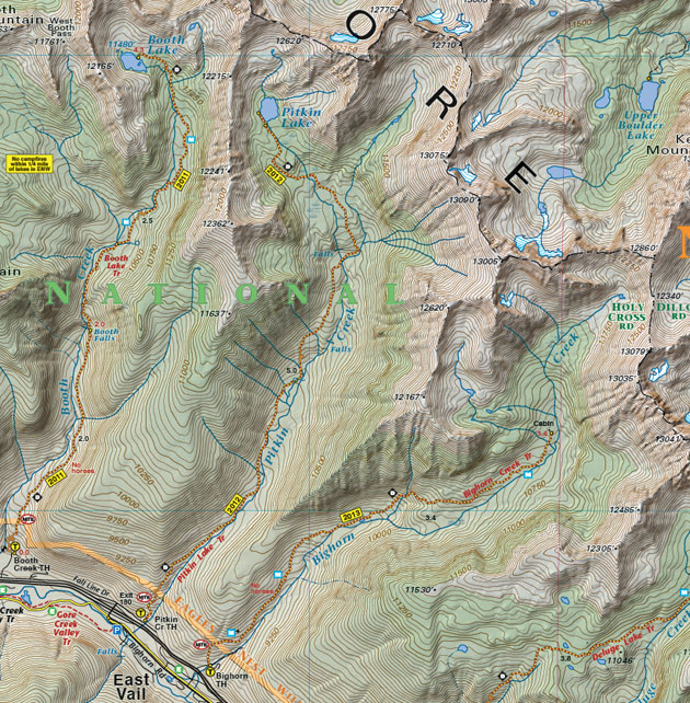 Gore Range topographic trail map