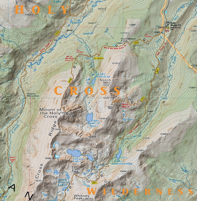Holy Cross Wilderness topographic trail map