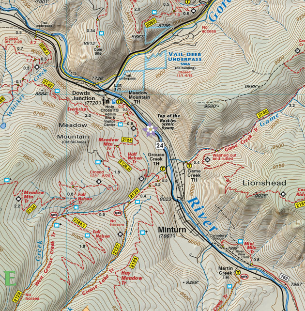 Minturn topographic trail map