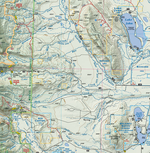 Routt National Forest Lake John map