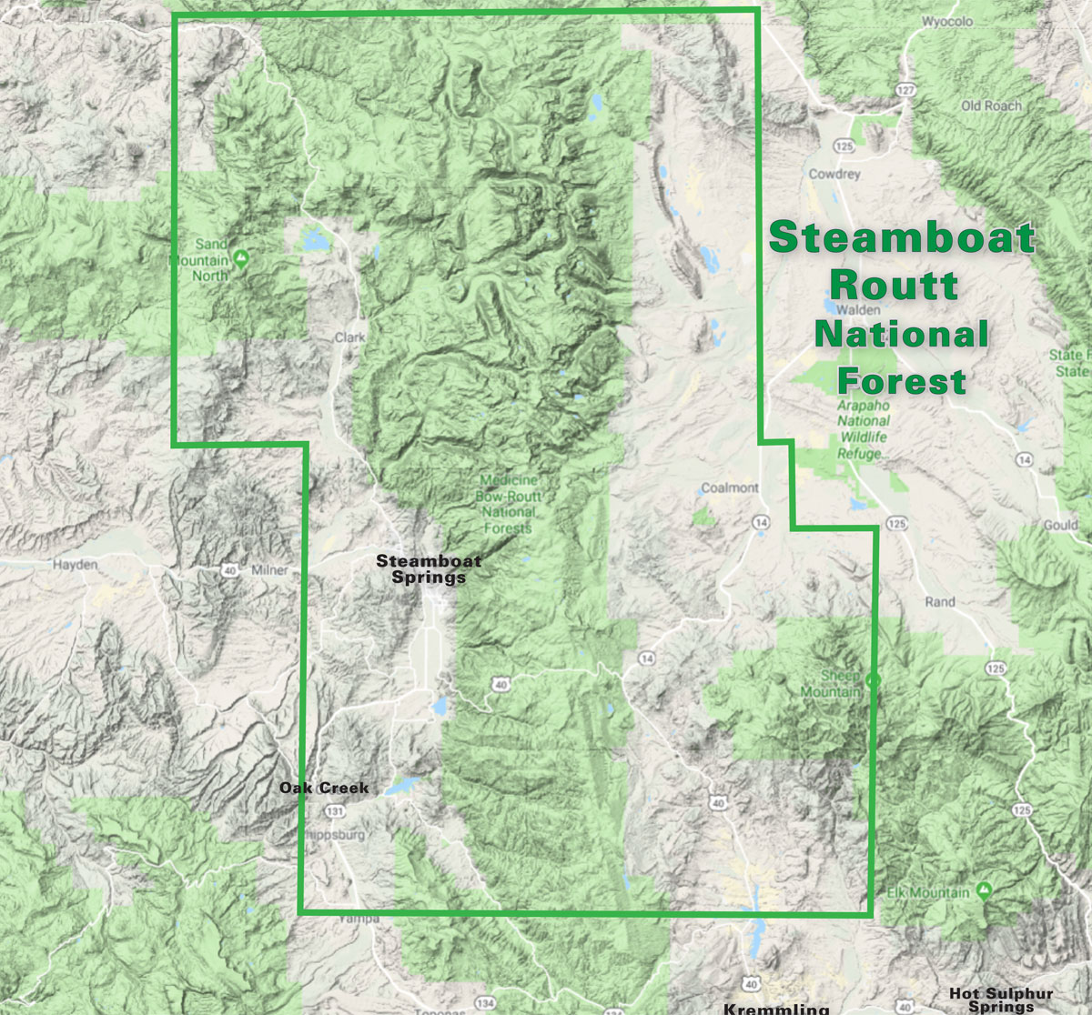 Steamboat - Routt National Forest Trails Topo Map | Latitude ...