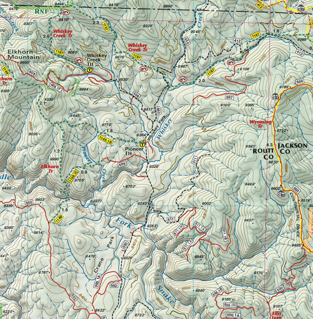 Routt National Forest Whisky Creek map